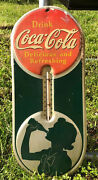 Vintage Coca Cola 1940 Thermometer Delicious And Refreshing Robertson Rare
