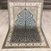 Yilong 4and039x6and039 Blue Silk Hand Knotted Carpets Oriental Bedroom Handmade Rugs 032b