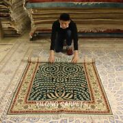 Yilong 4and039x6and039 Green Tree Pattern Silk Handmade Area Rug Hand Woven Carpets 050b