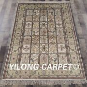 Yilong 4and039x6and039 Garden Scene Hand Knotted Silk Carpets Four Season Vintage Rug 757b