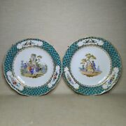 Antique A Pair Of German Porcelain Plate Meissen 19th Century. There Stamped.