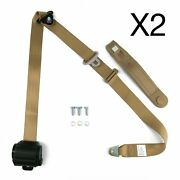 Pair Adjustable Tan Retractable 3 Point Safety Car Seat Belt Hot Rod Muscle Car