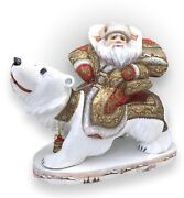 Russian Santa On A Polar Bear Wooden Hand Carved Hand Painted Signed By Artist