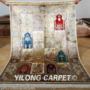 Yilong 4and039x6and039 Classic Silk Rugs Hand Made Carpets Contemporary Hand-knotted 0685