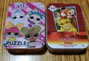 """🔥sealed🔥 Lion King, Lol Jigsaw Puzzles In Collector's Tins, 5"""" X 7"""", 24 Piece"""