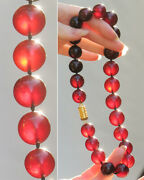 Antique Natural Genuine Baltic Cherry Red Amber Necklace Vintage Beads 60 Grams