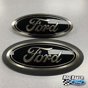 18 Thru 20 Ford F-150 Smoke / Chrome Oval Grille And Tailgate Badges W/o Front Cam