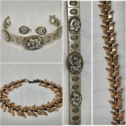 2 Vintage Bracelets 1 With Matching Clip On Earrings. Bronze And Silvertone