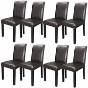 Set Of 8 Dining Parson Chairs High Brown Pu Leather Elegant Design Home Kitchen