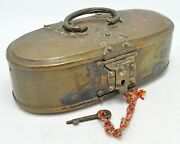 Antique Brass Oval Betel Nuts Leaves Box Original Old Crafted Engraved With Lock