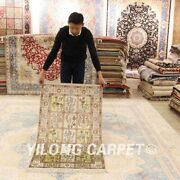 Yilong 2.5and039x4and039 Four Seasons Hand Knotted Carpets Flowers Silk Handmade Rugs 348b