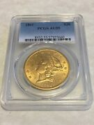 1861 Au55 Pcgs Liberty Double Eagle Type 1 20 Gold Coin Pq Great Eye Appeal