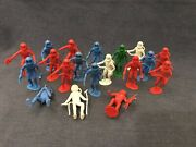 Marx Toy Mpc Plastic Figures Lot Of 19 Space Men Moon Outer Universe Green Blue