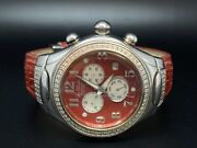 Jojo Diamond Watch Reds Face With Chronograph/ With Extra New Leather Band