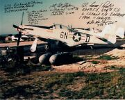 339th Fg Wwii Ace Signed By 6 8x10 Photo 339th Fighter Group Super Rare