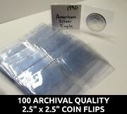 100 Archival Quality Mylar 2.5 Coin Holders - Plastic Flips For Pcgs / Ngc