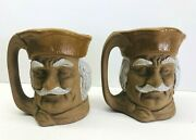 Vintage Set Of 2 Ceramic Toby Mugs Made In Japan 5 Tall