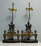 Beautiful Pair Of Antique French Bronze Table Lamps Made From Andirons