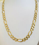 14k Solid Yellow Gold Figaro Curb Link Necklace 19inches 25.55grams1789italy