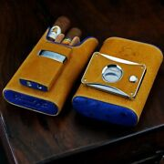 Brizard Show Band Case Cutter And Lighter Combo- Blue Ostrich And Camel Leather