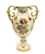 Herend Hungary Hand Painted Porcelain Twin Handled Footed Urn In Queen Victoria