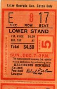 1958 Pittsburgh Steelers @ Washington Redskins Ticket Stub - Bobby Layne 2 Tds