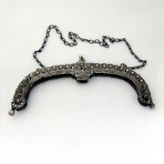 Openwork Floral Large Purse Frame Chain Handle 800 Silver