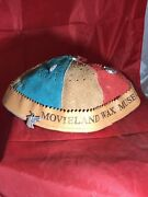 Rare Unique Movieland Wax Museum Leather Beanie With Silver Metal Charms