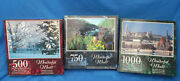 Lot Of 3 Wonderful World Jigsaw Puzzles 1-500 Pc, 1-750 Pc And 1-1000pc New