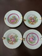 4 Vintage Limoges French Miniature Pin Dishs Or Plates Set Lot Of 4