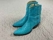 Back At The Ranch Womens Ostrich Leather Ankle Zipper Cowboy Boots 7.5 Turquoise