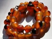 Old Chinese Water Buffalo Horn Necklace Faux Amber Rare Natural Eye Beads