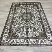 Yilong 5and039x8and039 White Handmade Silk Rugs Kid Friendly Hand Knotted Home Carpets 24b