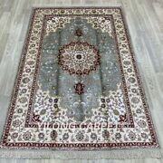 Yilong 4and039x6and039 Blue Hand Knotted Silk Carpets Medallion Vintage Parlor Rug 17b