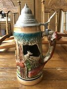 Antique Zoller And Born West Germany Lidded Beer Stien Fox Handle Vibrant Painted