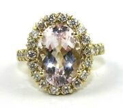 Natural Oval Morganite And Diamond Halo Solitaire Ring 14k Yellow Gold 8.09ct