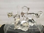 Lot Of3 Fine Crystal Cats Figurines Lenox Germany ,mantorp Sweden