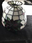 Partylite Poinsettia Tealight Lamp Style Hand Cut Stained Glass