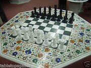 24 White Marble Coffee Chess Table Top With 3 Chess Pcs Marquetry Decor H2073