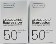 Arkray Glucocard Expression Diabetic Test Strips 2 Boxes 100 Ct Free Ship