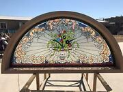 Hand Cut Stained And Jeweled Glass Victorian Style Transom Jhl2167-50t