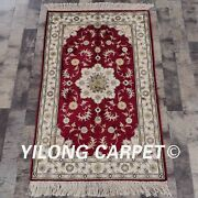 Yilong 2.5and039x4and039 Red Handmade Silk Antique Carpet Parlor Decor Rug Sale J13b