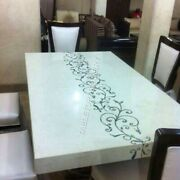 4and039x2and039 White Marble Dining Table Top Italian Mother Of Pearl Precious Inlay E950