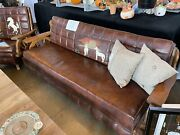 Beautiful Antique 1950andrsquos Wagon Wheel Convertible Sofa And Matching Chair.andnbsp