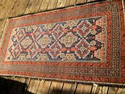 Antique 1900 Beluch Rug With Great Blue Color And Yellow 5and03910 X 3 Feet .