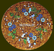 Rare Mosaic Marble Top Dining Side Inlaid Table Collectible Italian Decor H3817