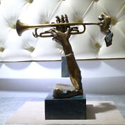 Abstract Male Musician Blows Trumpet Bronze Painted Art Deco Sculpture