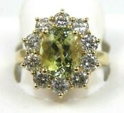 Natural Oval Green Beryl And Diamond Halo Solitaire Ring 14k Yellow Gold 5.16ct