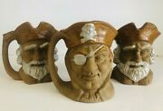 Vintage Set Of 3 Ceramic Toby Mugs Made In Japan 5 Tall