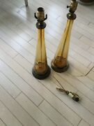 Authentic Vintage Pair Blenko Amber Glass Table Lamps - 22andrdquot